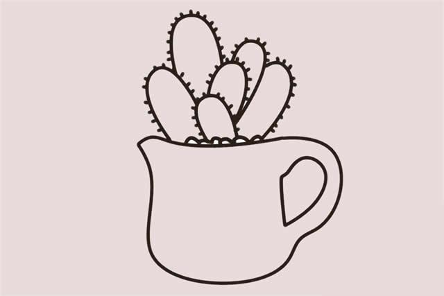 仙人掌盆栽简笔画步骤 中级简笔画教程-第6张