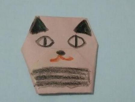 小猫指套折纸步骤图 手工折纸-第1张