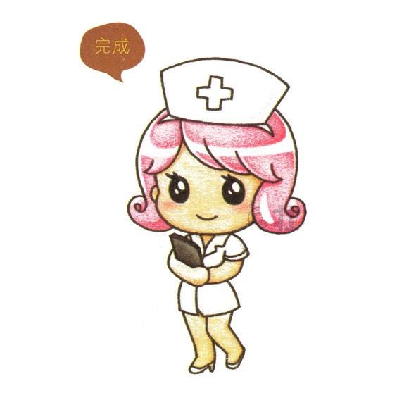 卡通护士简笔画画法步骤图 中级简笔画教程-第1张
