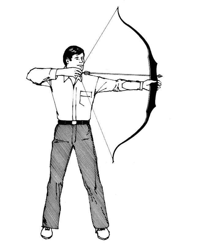 弓箭手黑白简笔画线稿 人物-第1张