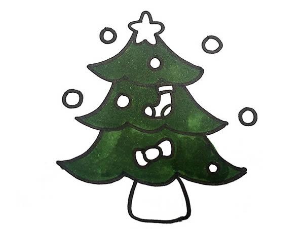 圣诞树简笔画,儿童简笔画图片 中级简笔画教程-第5张