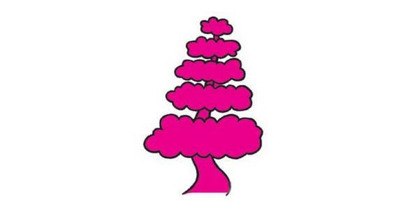 松树画法步骤 松树简笔画步骤教程及图片大全 植物-第1张