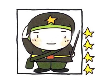 敬礼的军人简笔画画法步骤 中级简笔画教程-第1张