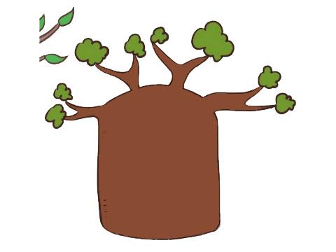 面包树简笔画画法步骤 中级简笔画教程-第10张