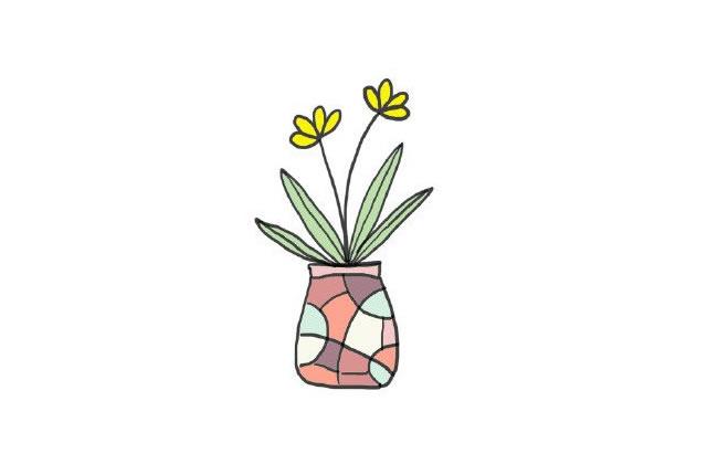 植物盆栽简笔画图画带颜色 中级简笔画教程-第8张