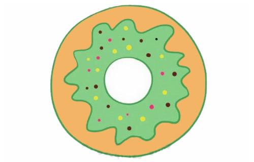 甜甜圈简笔画完成图