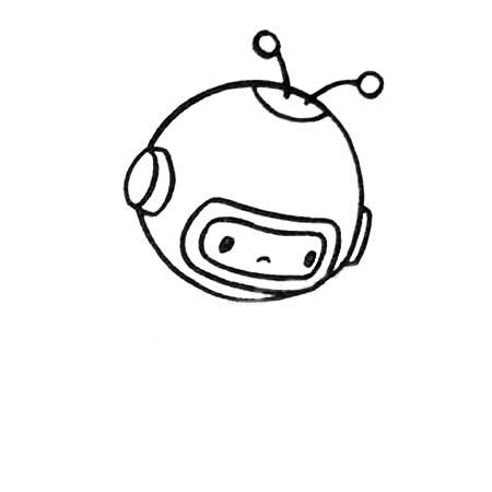 宇航员简笔画图片五步画出 中级简笔画教程-第3张