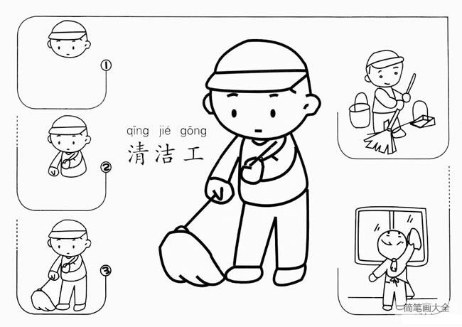 清洁工扫地简笔画教程 中级简笔画教程-第1张
