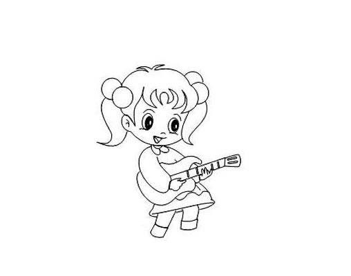 弹吉他的小女孩简笔画画法 人物-第5张