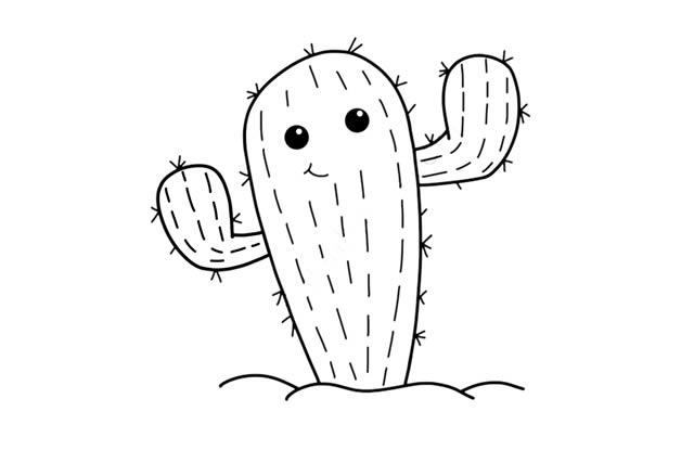 卡通仙人掌简笔画步骤 初级简笔画教程-第5张