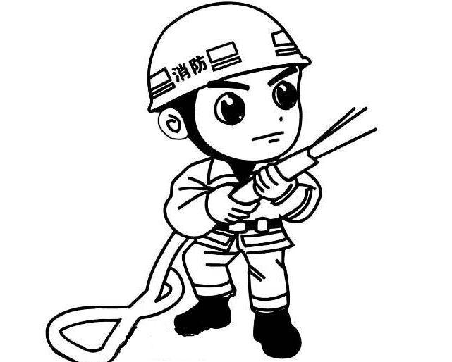 消卡通消防员救火简笔画 中级简笔画教程-第1张