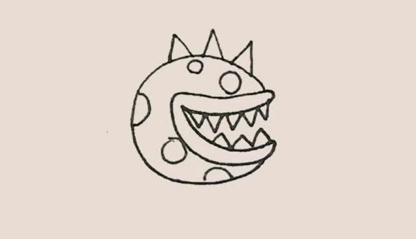 儿童简笔画食人花画法教程 中级简笔画教程-第6张