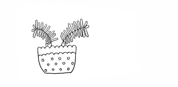 两盆漂亮的盆栽简笔画彩色画法步骤图教程 植物-第6张