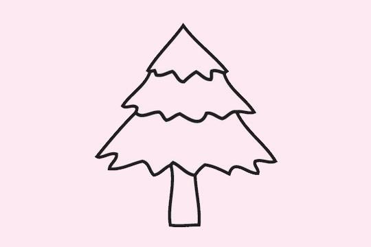 超简单的圣诞树简笔画画法 初级简笔画教程-第4张