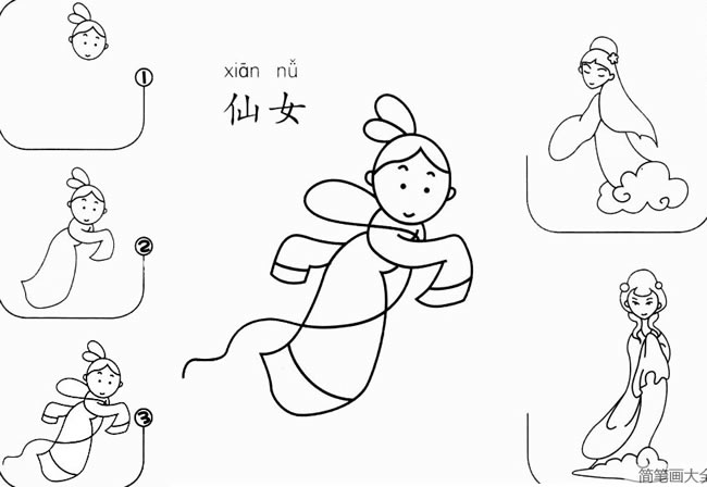 仙女怎么画简笔画图片 仙女一步一步的画法步骤图大全 人物-第1张