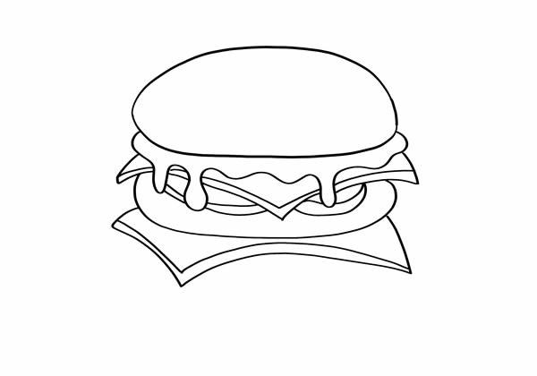 可爱的汉堡包怎么画 汉堡简笔画步骤图片教程