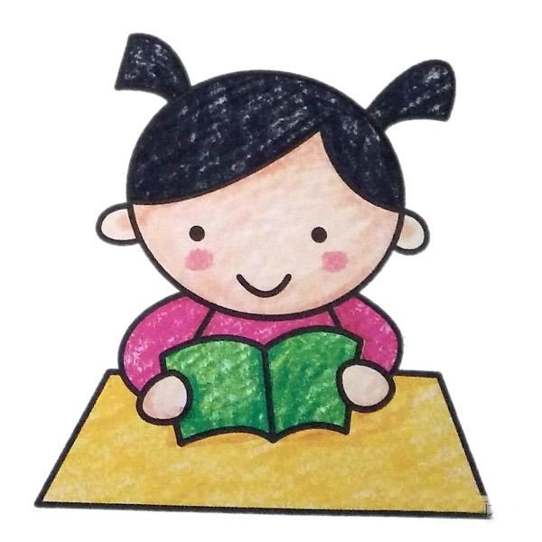 读书的小女孩简笔画填色图 中级简笔画教程-第1张