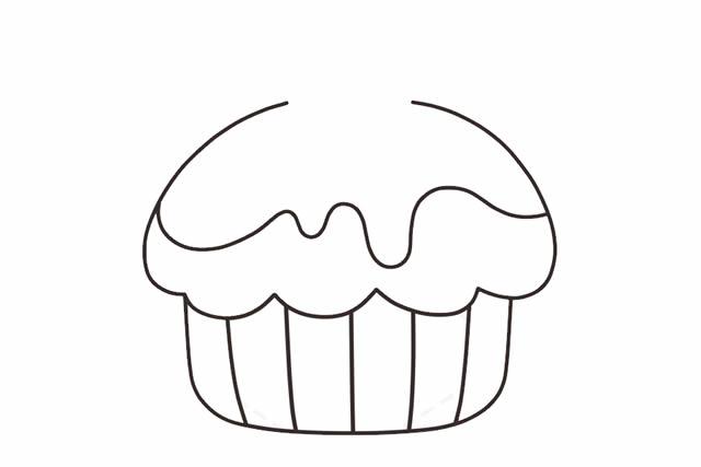 纸杯蛋糕简笔画_可爱纸杯蛋糕的画法