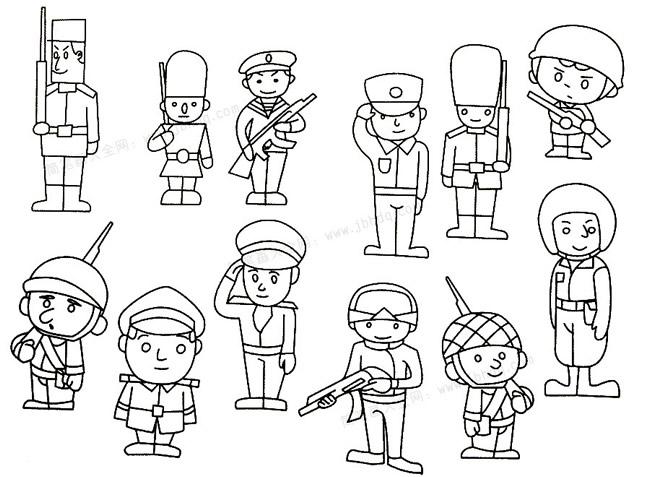 儿童画士兵简笔画画法步骤 中级简笔画教程-第6张