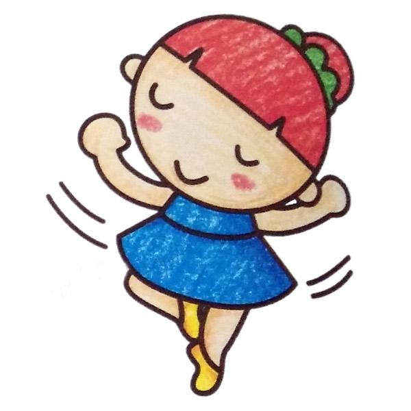 小女孩跳舞简笔画填色图 中级简笔画教程-第4张