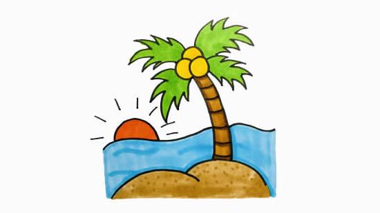 海边风景简笔画,椰子树简笔画 植物-第1张