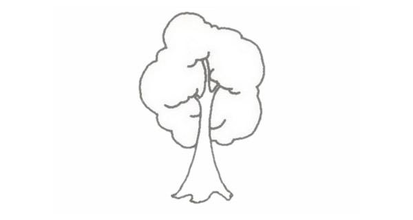 小树简笔画的画法步骤图教程 植物-第4张