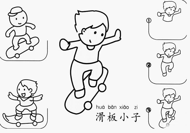 玩滑板的男孩简笔画步骤图解 人物-第1张