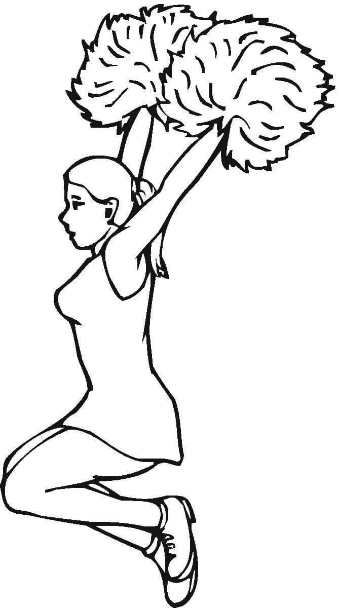 【啦啦队美女】啦啦队美女简笔画素材 人物-第1张