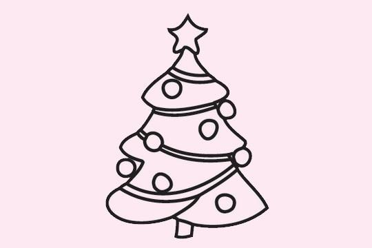 超简单的圣诞树简笔画画法 初级简笔画教程-第8张