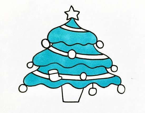 漂亮的圣诞树简笔画画法 初级简笔画教程-第5张