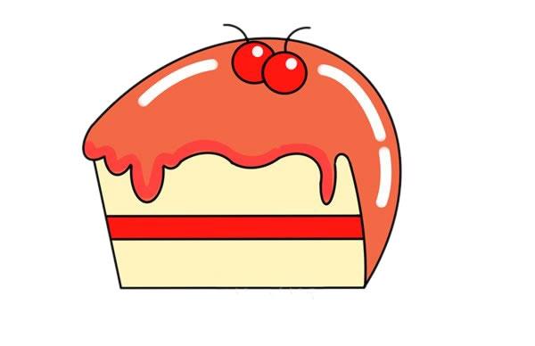 夹心蛋糕简笔画的彩色画法步骤图片