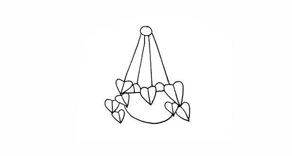 吊兰画法步骤 绿萝吊兰简笔画彩色画法步骤图教程 植物-第7张
