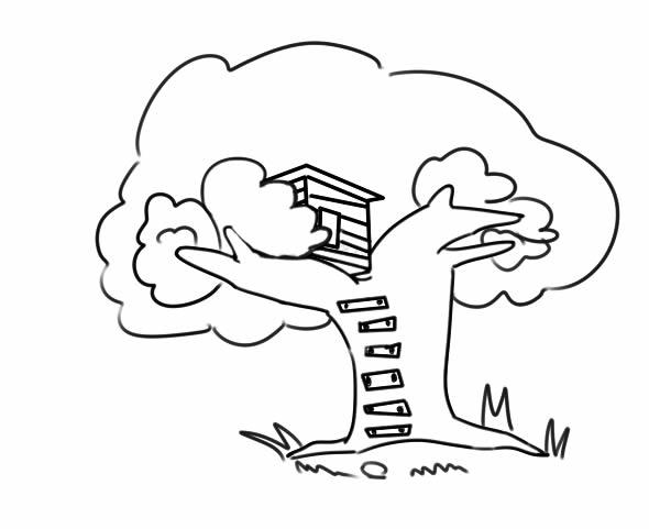 漂亮的树屋简笔画图片 中级简笔画教程-第1张