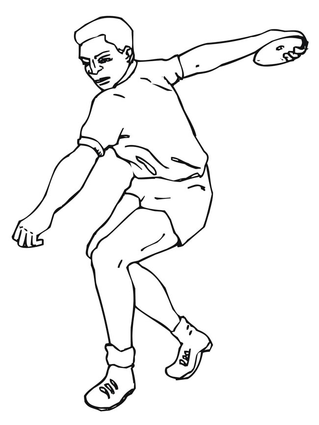 掷铁饼运动员简笔画线稿 人物-第1张