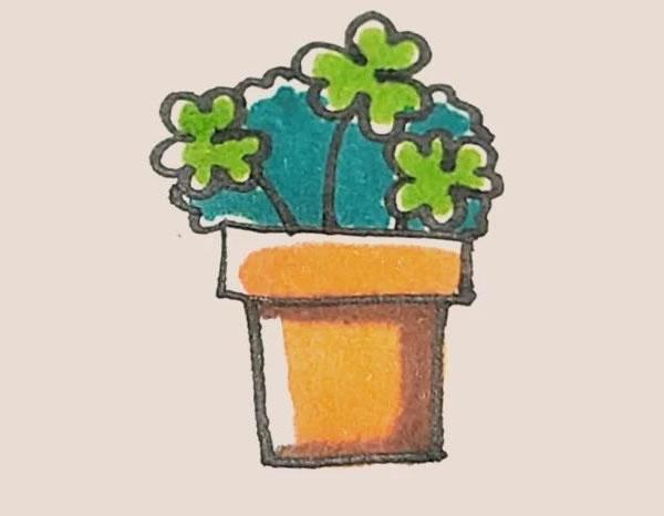 三叶草盆栽简笔画画法教程 中级简笔画教程-第1张