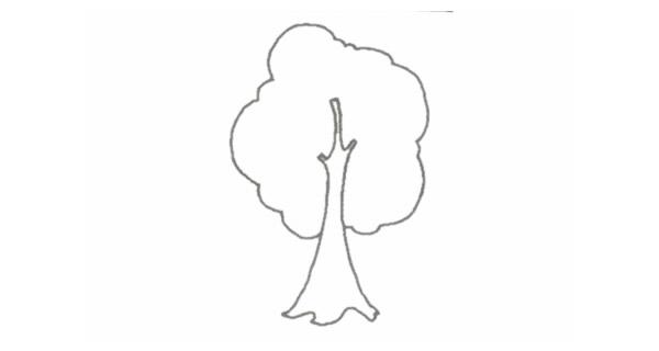 小树简笔画的画法步骤图教程 植物-第3张
