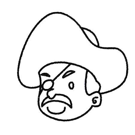 海盗头像简笔画的画法步骤 人物-第1张