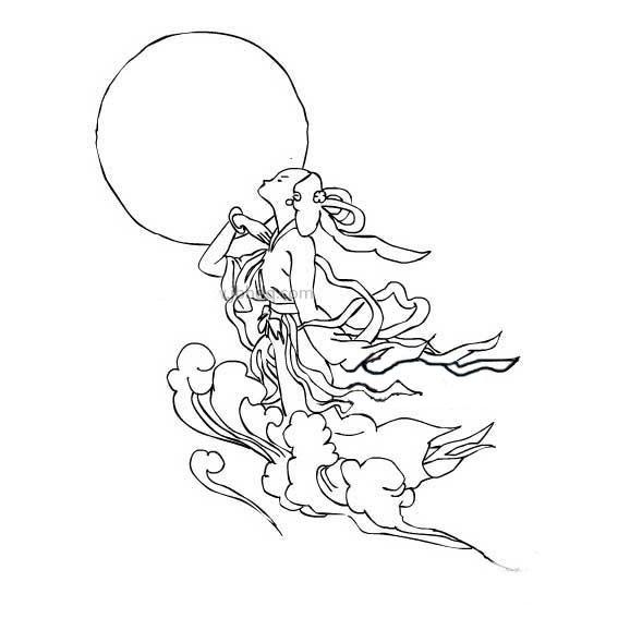 嫦娥奔月简笔画图片大全 人物-第5张
