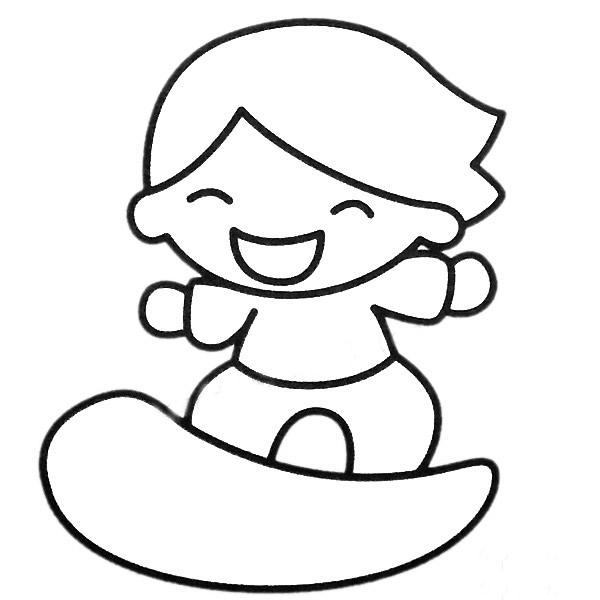 玩滑板的小男孩简笔画填色图 人物-第2张