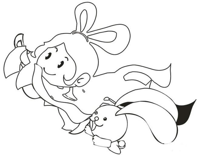 卡通嫦娥和玉兔简笔画 人物-第1张