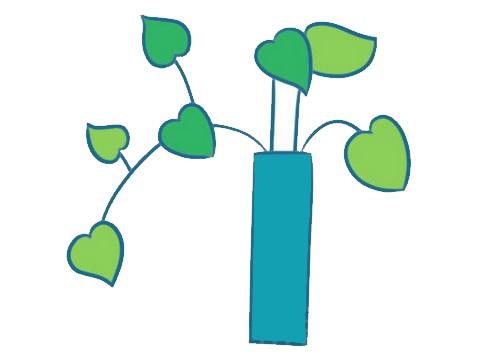 绿萝简笔画画法,绿色植物简笔画 中级简笔画教程-第8张