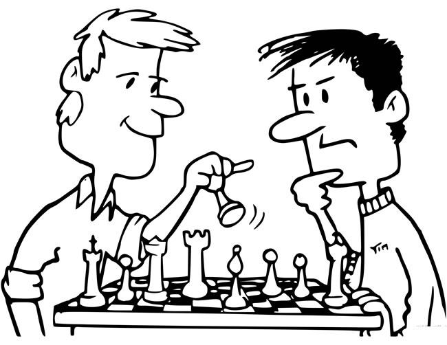 【下棋简笔画】坐着下棋的人简笔画图片 人物-第1张