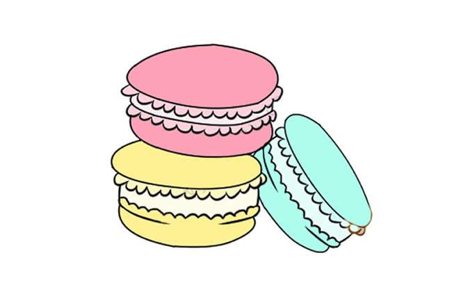 马卡龙甜点简笔画彩色图片