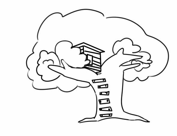 漂亮的树屋简笔画图片 中级简笔画教程-第5张