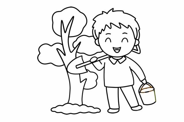 植树节简笔画,小朋友种树简笔画 植物-第1张
