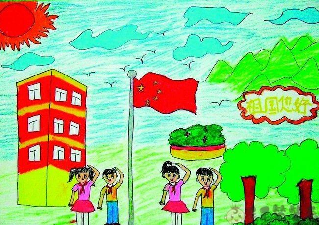 升国旗儿童画图片