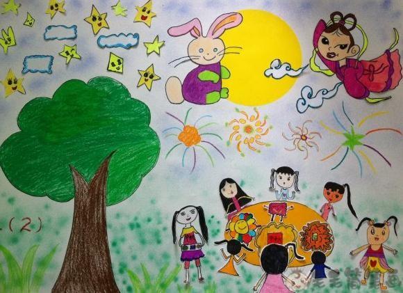 中秋节儿童画范画