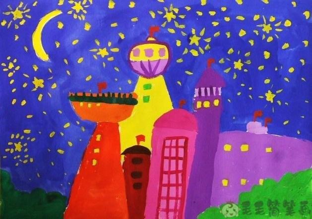 夜晚的城市儿童画