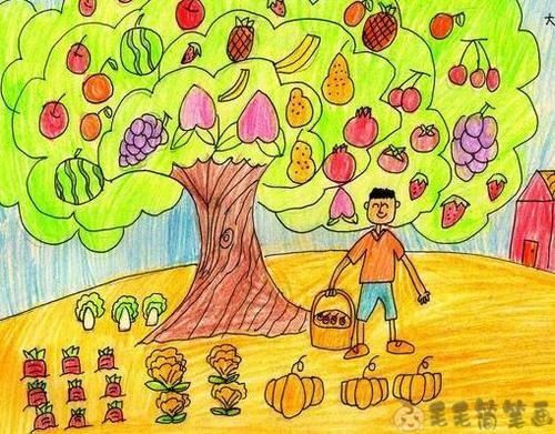 小朋友画秋天景色绘画图片