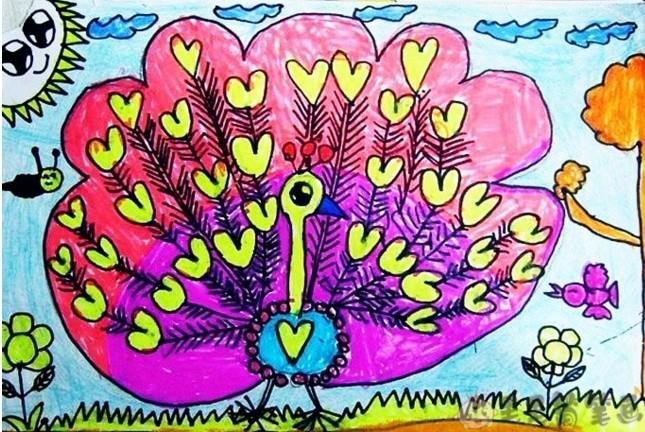 孔雀儿童画,孔雀简笔画图片 绘画-第8张